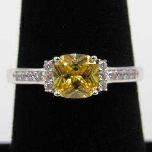 Sterling Silver Yellow Cushion CZ Diamond Ring